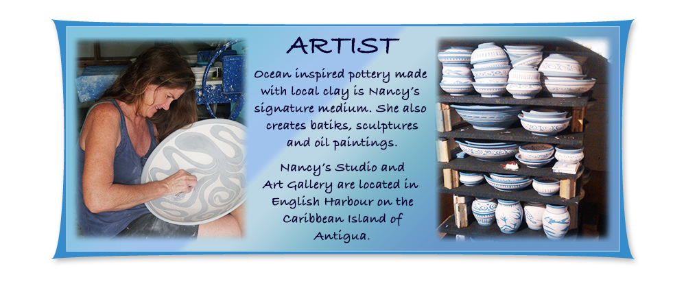 antigua caribbean artist working in pottery, oil, acrylics, mosaic, carving